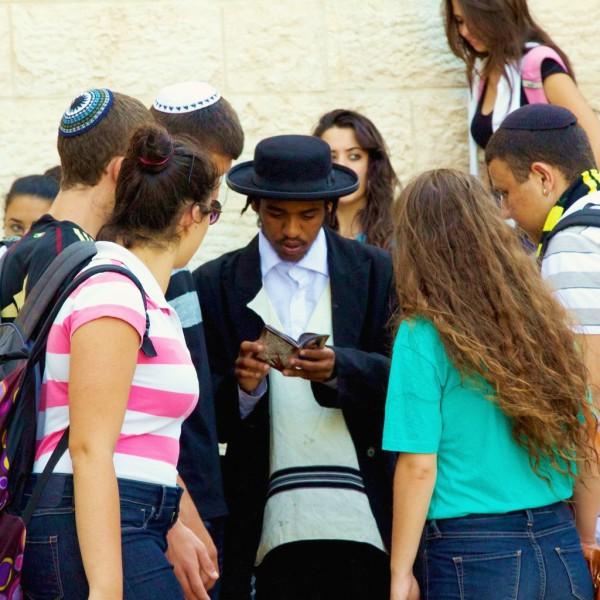 Israeli teens at the Kotel (Western Wall). (Photo by Matt Bargar)