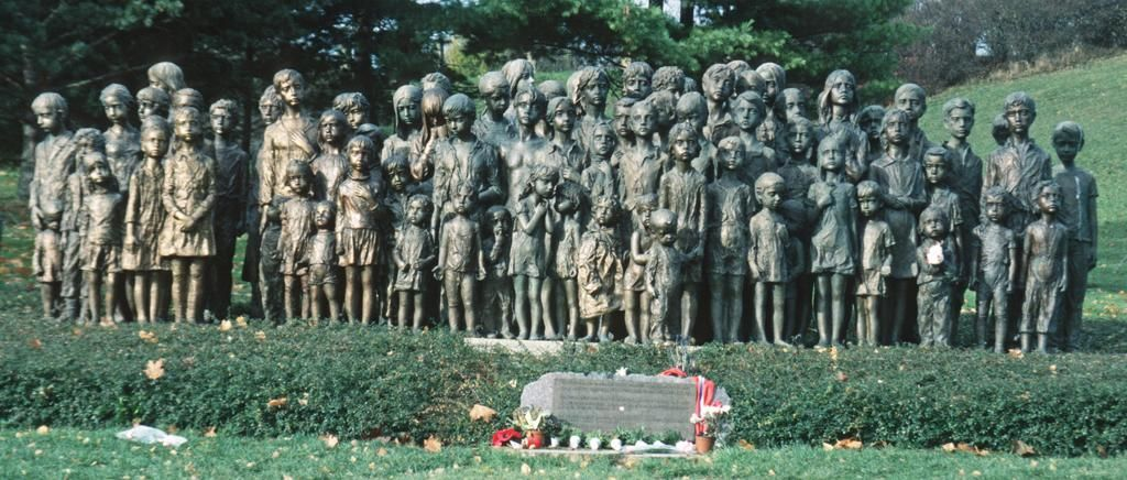 A memorial to the children of Lidice, a village in the Czech Republic, 20 km northwest of Prague, that was completely eradicated by the Nazis during World War II (10th June 1942). All adult men were shot. Women were shipped to the Ravensbrück concentration camp and most of the children gassed. All together 340 people were killed (192 men, 60 women and 88 children).