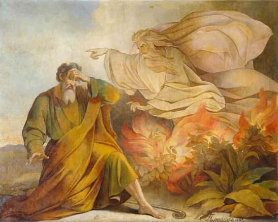 God Appears to Moses in the Burning Bush, by Eugene Pluchart