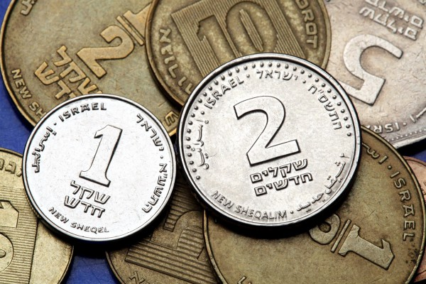 Israeli one- and two-shekel coins.