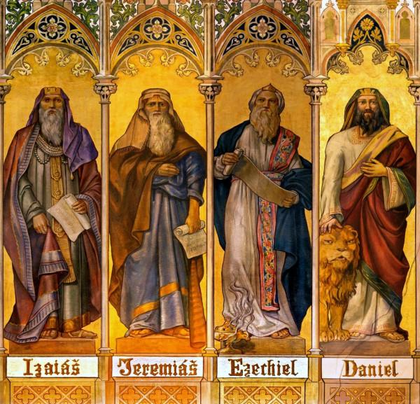 A neo-gothic fresco of the prophets Isaiah, Jeremiah, Ezekiel, and Daniel by Leopold Bruckner.