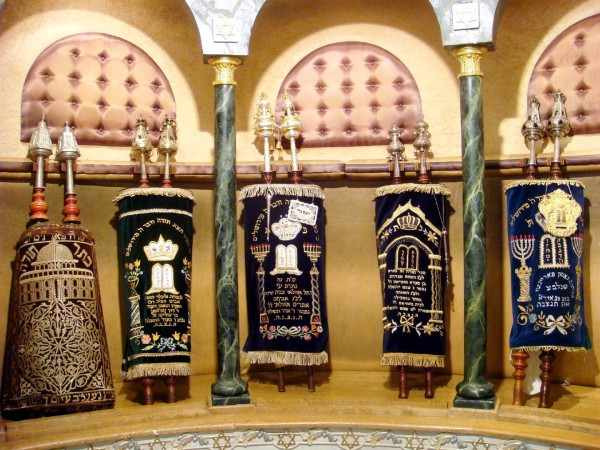 Torah scrolls in Temple Beth El synagogue in Casablanca (Photo by David Lisbona)