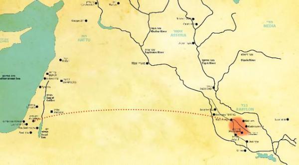 Israel to Babylon map (YouTube capture)