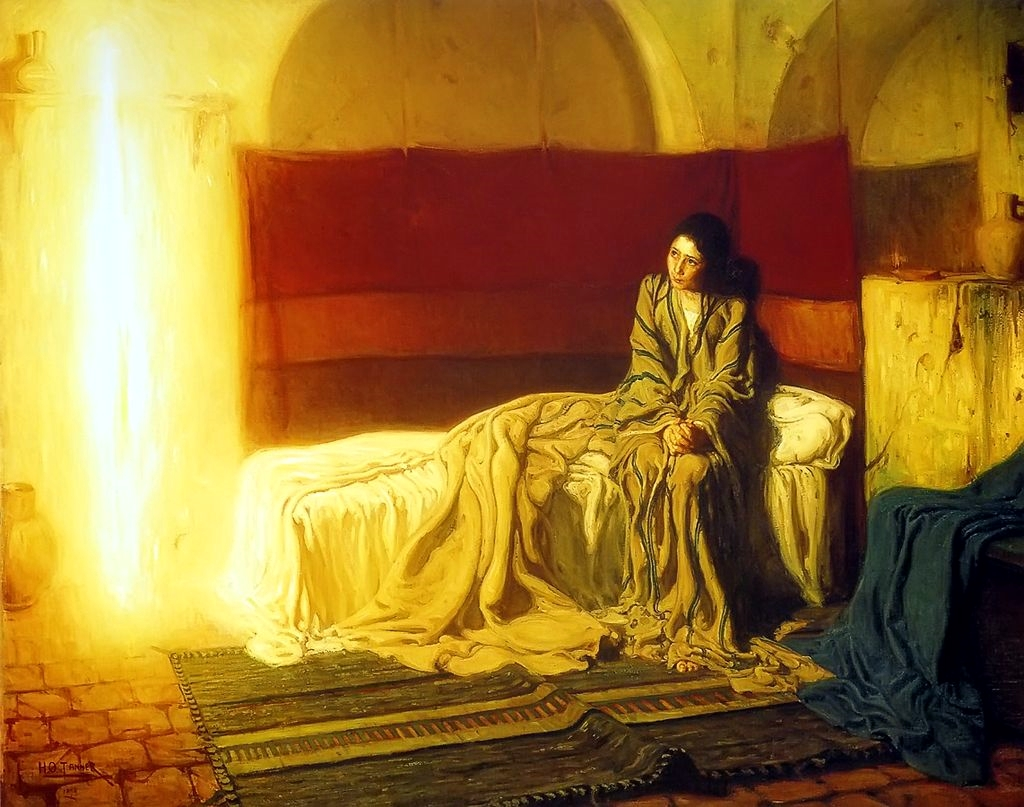 <b>The Annunciation</b>, by Henry Ossawa Tanner (1898), depicts Miriam (Mary) receiving  the message from Angel Gabriel of her conception.