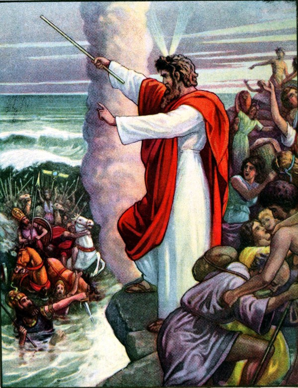 A 1919 Bible primer depiction of the Red Sea swallowing Pharaoh's army.