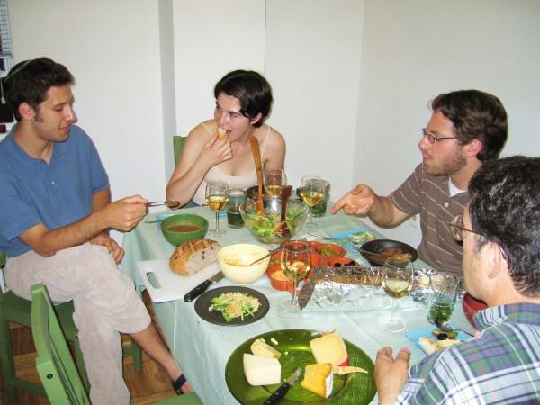 Friends gather to enjoy a kosher feast. (Photo by Sam Felder)