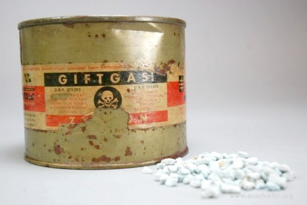 Zyklon B was used by the Nazis during the Holocaust to murder a million people in gas chambers installed at Auschwitz-Birkenau, Majdanek, and other extermination camps.