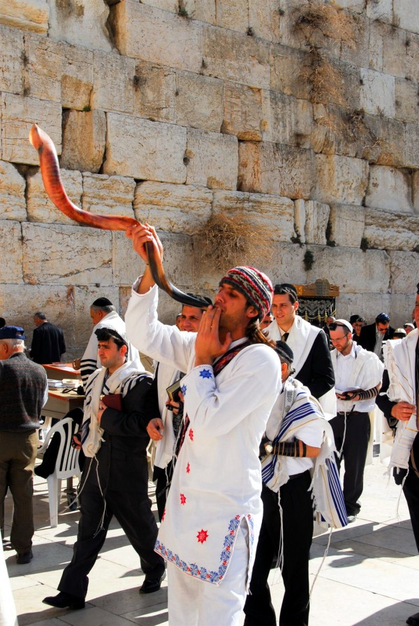 Blowing the shofar at the Western (Wailing) Wall in Jerusalem