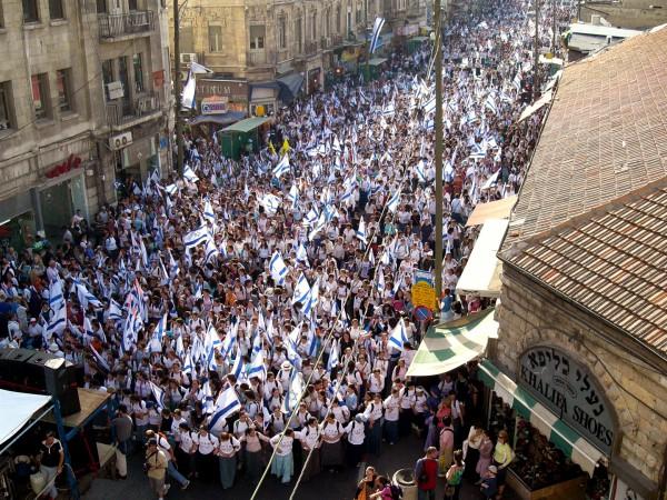 The crowds rejoice over Jerusalem on Yom Yerushalayim.
