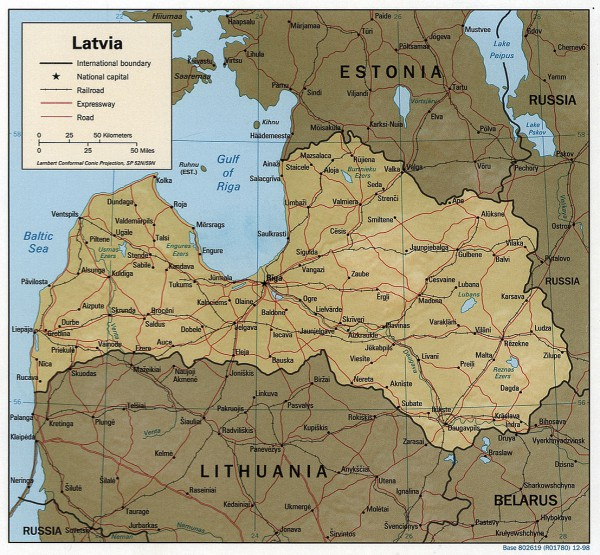 1998 CIA map of Latvia
