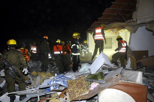 The shattered remnants of an Israeli home in Beer Sheva after a Gaza rocket strike-war crimes