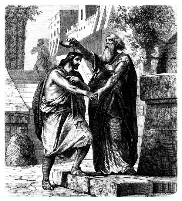 Samuel anoints Saul as king.