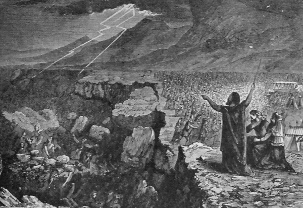 Destruction of Korah Dathan and Abiram, illustration from the 1890 Holman Bible
