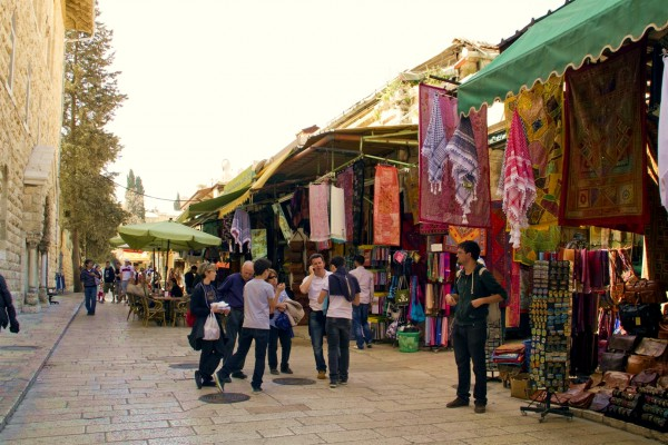 People in a market in the Old City of Jerusalem