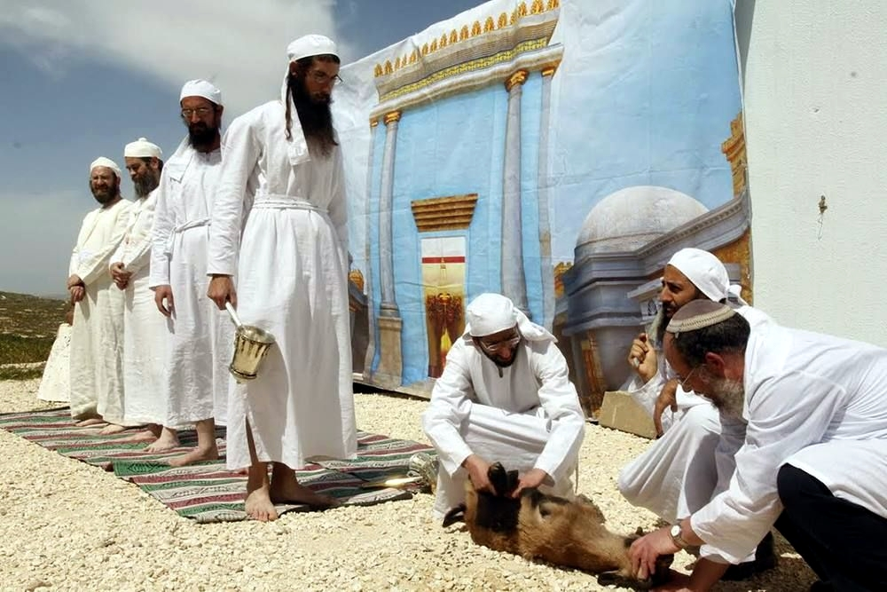 A Kohen holds a silver mizrak, which is used to collect the blood from the sacrifice. After collecting the blood, the priest then spills it onto the corner of the altar. (Source: Temple Institute Facebook page)