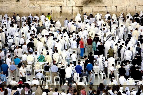 Prayer on Yom Kippur at the Western (Wailing) Wall in Jerusalem.