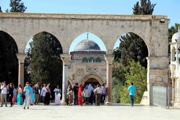 The silver domed Al Aqsa Mosque occupies the spot where the Royal Stoa was located in the time of Yeshua. This mosque has been twice destroyed by earthquake. The current building has been standing since AD 1035.