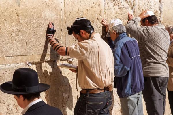 Jewish prayers at the Western Wall in Jerusalem-Siddur