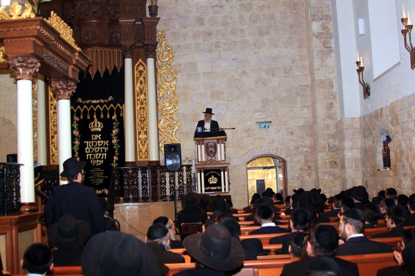 Men's section of Orthodox synagogue in Israel
