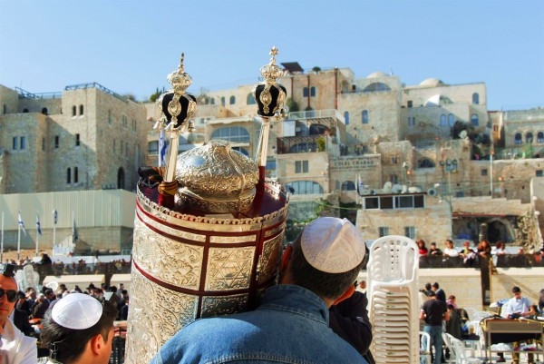 Carrying the Torah at the Western (Wailing) Wall in Jerusalem