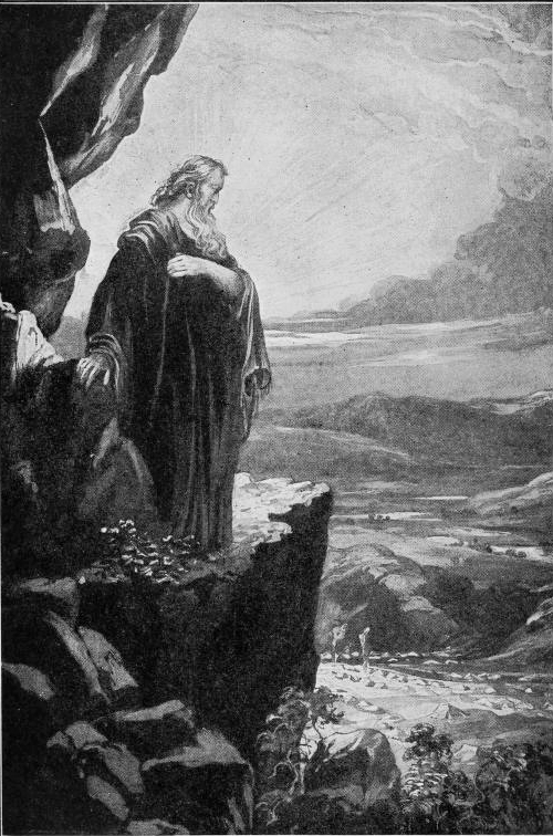 Moses Viewing the Promised Land (Illustration from Our Day in the Light of Prophecy and Providence, 1921)
