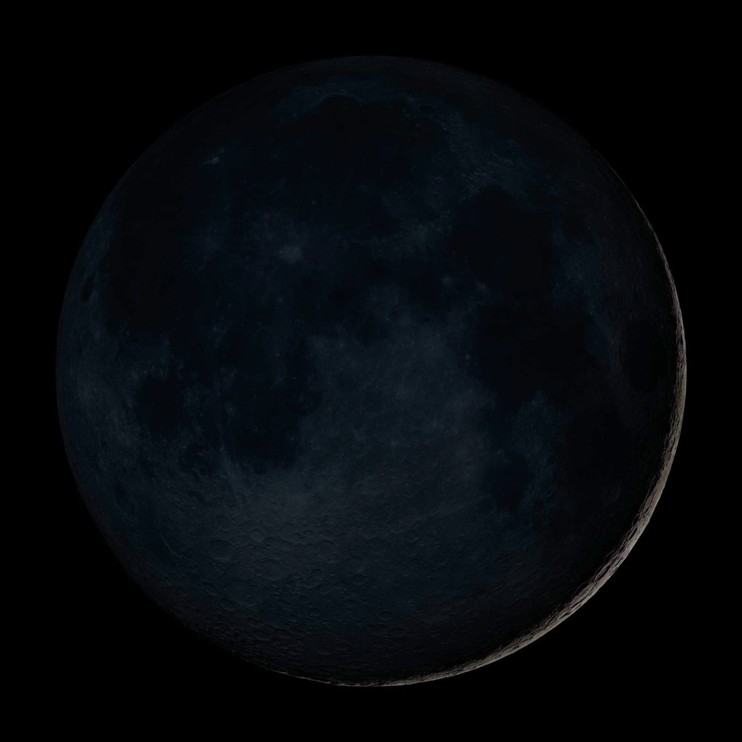 The new moon phase is the moon at its darkest in the night sky. The sky almost appears to have no moon at all.