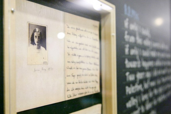 Photograph of Anne Frank at UN exhibit commemorating Holocaust, International Holocaust Remembrance Day