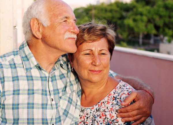A senior couple in Israel enjoys a quiet moment together.