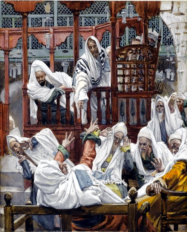 Yeshua and the Possessed Man at the Synagogue, by James Tissot