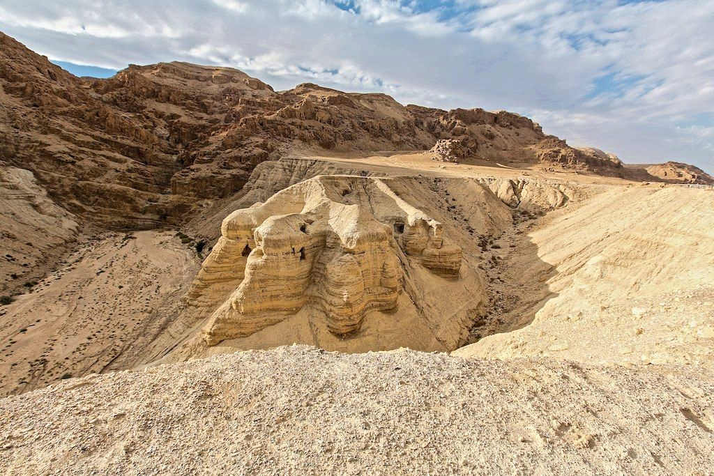 Caves at the Qumran site where the Dead Sea Scrolls were discovered.