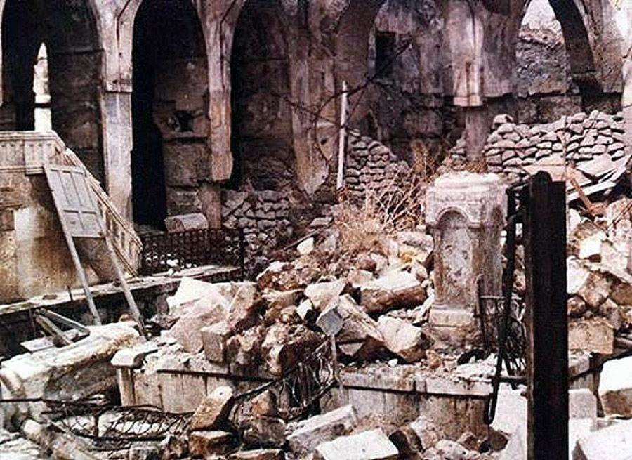 This Aleppo synagogue was burned in 1947 after the UN General Assembly voted to partition Palestine into Jewish and Arab states.  While Jewish leaders in Israel accepted the partition, Arab leaders did not.  If they had accepted, the two-state solution would have been implemented all those years ago along almost the same lines as are being demanded by Palestinians today.  Israel has said yes several times, but each time Palestinians came close to gaining what they supposedly want, they declined or sabotaged the deal.  What they really want is the entire land.