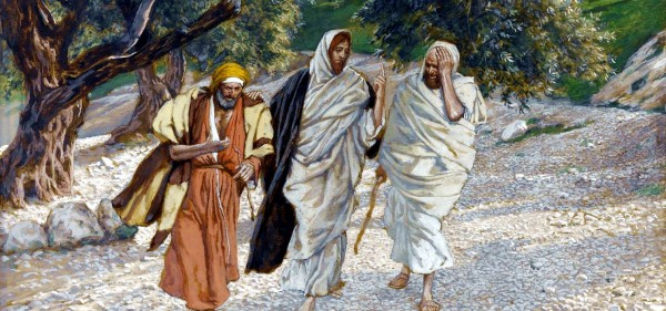 Yeshua appears to disciples on road to emmaeus, by James Tissot