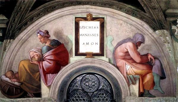 Sistine Chapel ceiling: Hezekiah, Manasseh, Amon by Michelangelo, Kings of Judah
