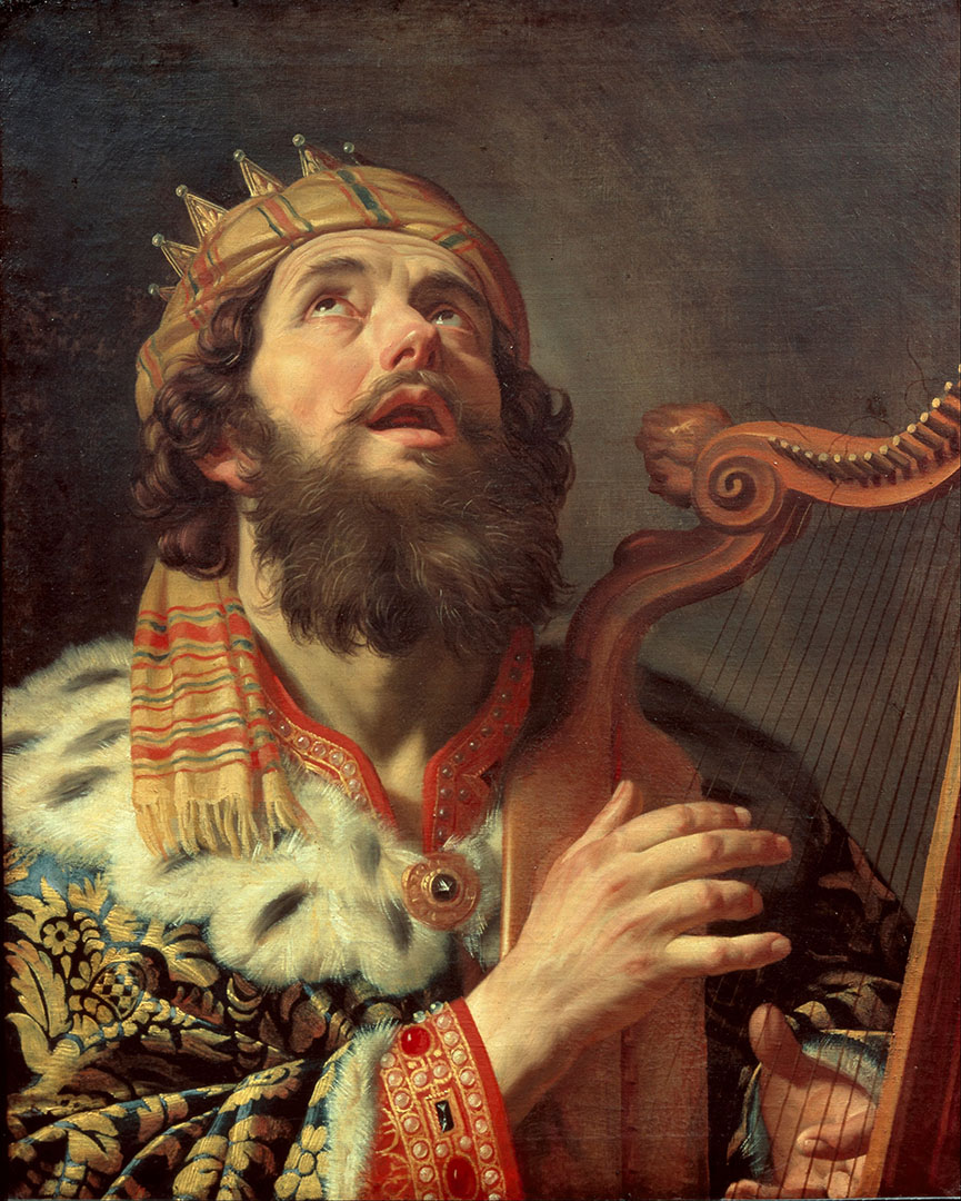 <b>King David Playing the Harp,</b> by Gerard van Honthorst