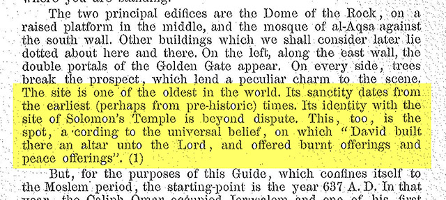 1925 edition of A Brief Guide to Al-Haram Al-Sharif, published by the Supreme Muslim Council. Highlighted text acknowledges the existence of Solomon's Temple and King David's altar on the Temple Mount.