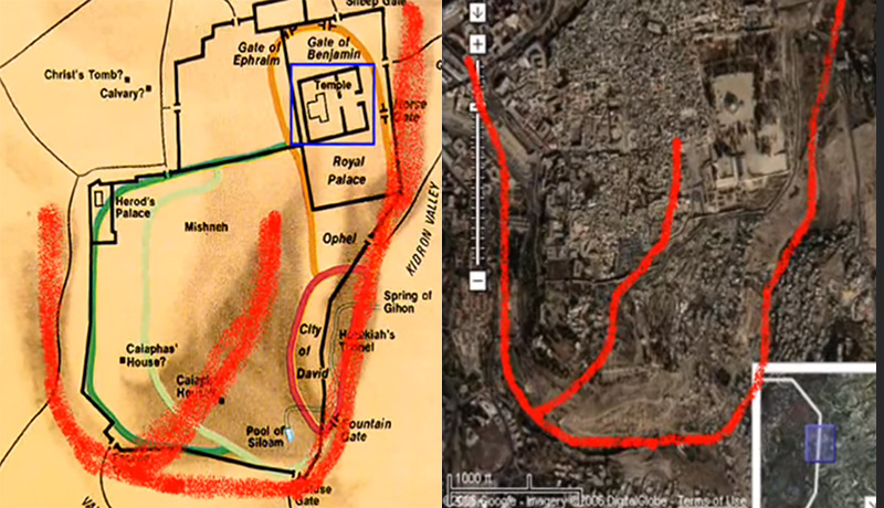 Google Earth map of the three valleys of Jerusalem with outline of the Hebrew letter Shin (שׁ) in red, a symbol used to represent one of the names of God—El Shaddai (God Almighty). This confirms the Word of God, who said that