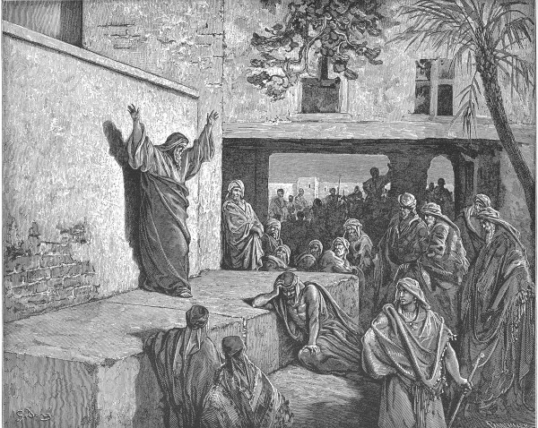 Micah Exhorts the Israelites to Repent (1865), an engraving by Gustav Doré