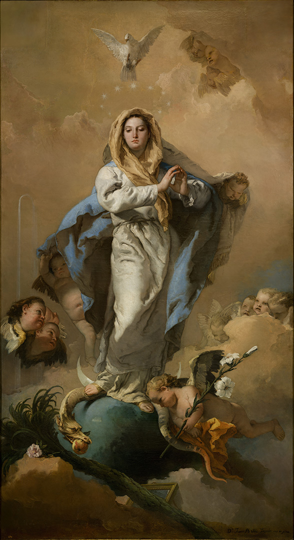 The Immaculate Conception, by Giovanni Battista Tiepolo (1767–1768) depicts Mary (Miriam) crushing the serpent.