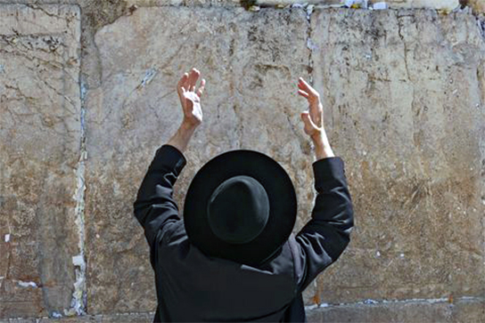 Orthodox Jewish man, western wall, worship