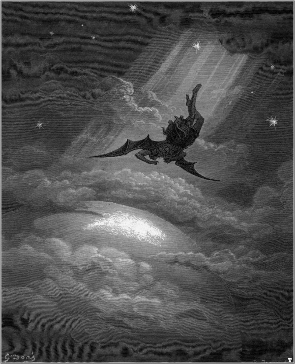 "Illustration by Gustav Dore (1832-1883) depicting the Fall of Satan in John Milton's ""Paradise Lost"" (1866),"