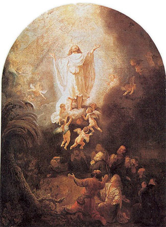 """The Ascension (1636), by Rembrandt.  After appearing to multitudes of people over 40 days, the risen Yeshua (Jesus), """"was taken up before their very eyes."""" (Acts 1:9)"""