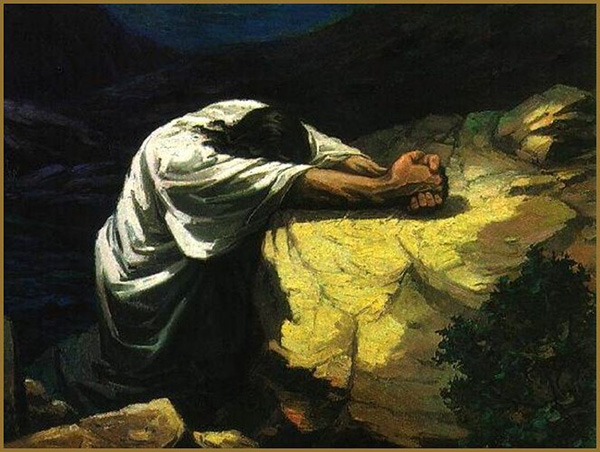 Jesus Prays in the Garden of Gethsemane (Source:  Flickr, by Waiting for the Word lic. cc by 2.0)