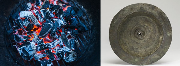 Left: Burning coals.  Right: Eighth century BC Phoenician brazier (fire pan).