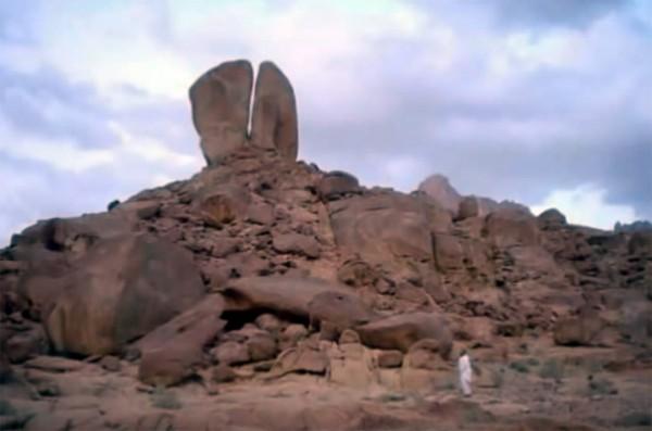 Split rock at Mount Horeb in Saudi Arabia