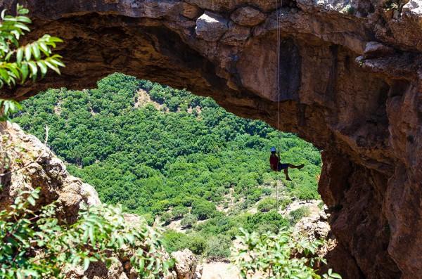 Rappelling down Keshet Cave in the Upper Galilee