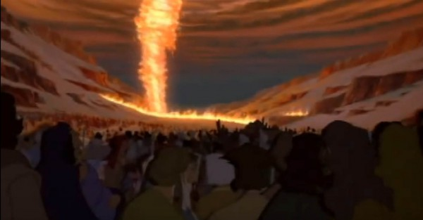 Scene from Prince of Egypt, depicting a pillar of fire lighting up the sky for the Israelites while also holding back the Egyptians.  (YouTube capture; fair use)