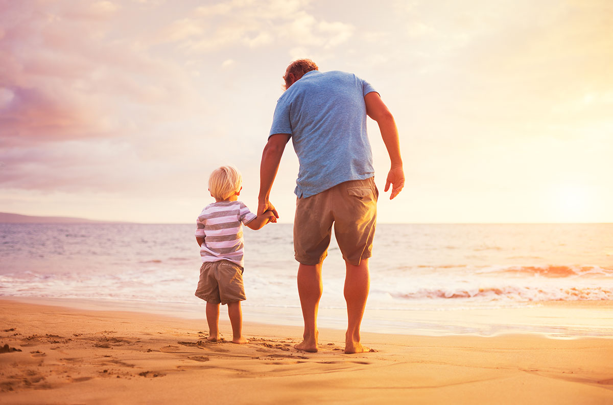 father, son, standing, sea, sunset