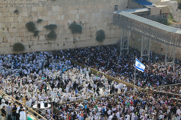 Jews and Gentiles gather at the Western (Wailing) Wall to worship the God of Israel.