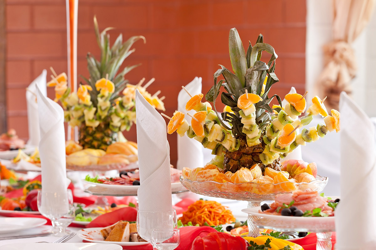banquet table with fruit