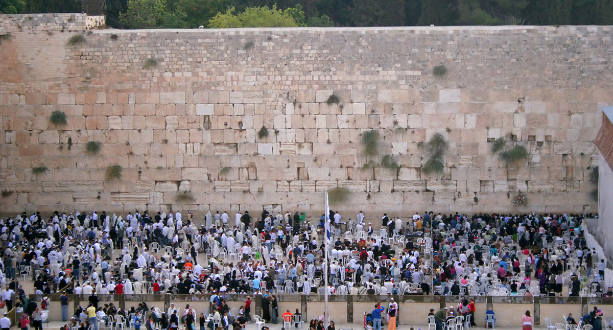 Crowds of worshippers, Western Wall, Jerusalem